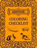 Addition Coloring Checklist