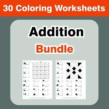 Addition Coloring Worksheets Bundle