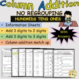 Addition Column Vertical 3 Digits No Regrouping Worksheets