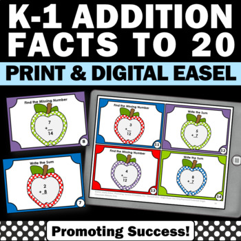 Addition Facts Up to 20 Task Cards Kindergarten Math Cente