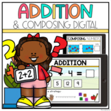 Addition & Composing Numbers Kindergarten- Google Classroom | Distance Learning