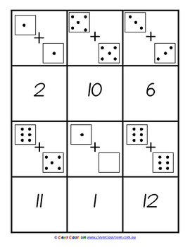 Addition Concentration Memory Game - 2 pages