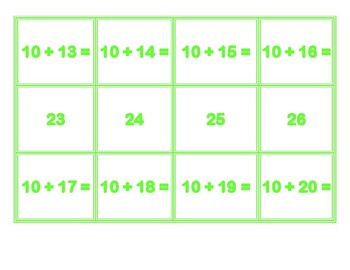Addition Concentration for 10's
