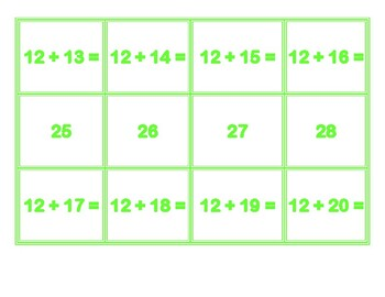 Addition Concentration for 12's