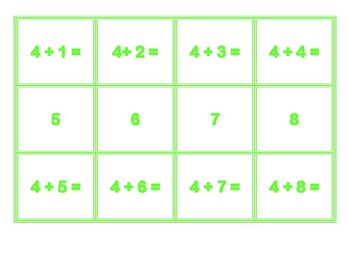 Addition Concentration for 4's