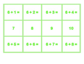Addition Concentration for 6's