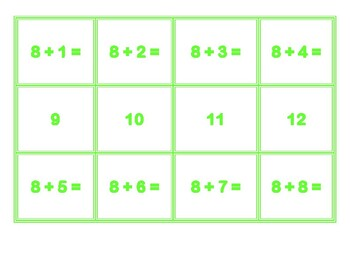 Addition Concentration for 8's