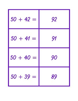 Addition Concentration from 30 + 0 to 50 + 50