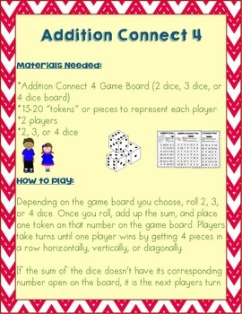 Addition Connect 4 - Dice Game - Math Facts Practice