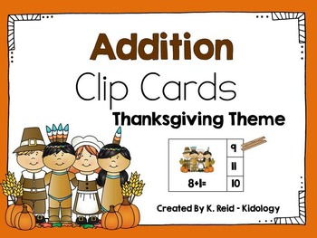 Addition Count and Clip Cards - Thanksgiving Theme