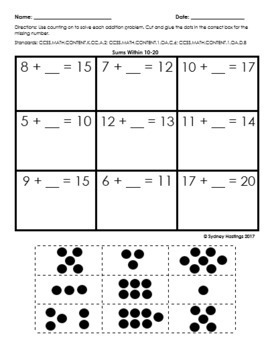 Addition Counting On Practice Pages Full Set