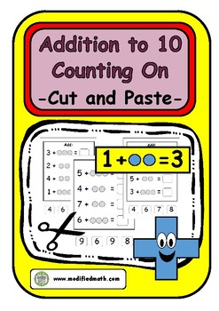 Addition Counting On Up To 10 Cut and Paste Sheets