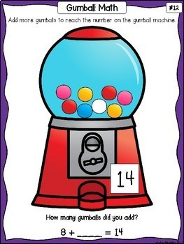 Addition Counting On - Write & Wipe Gumball Math Mats