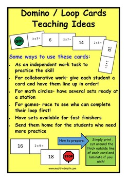 Addition Counting On to 10 Domino Loop Cards