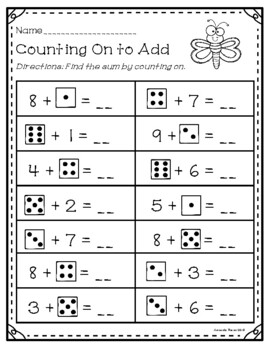 Counting On to Add Addition Worksheets and Activities by ...