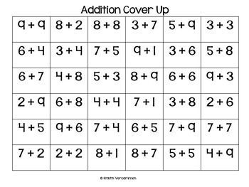 Addition Cover Up Game