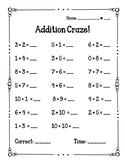 Addition Craze Fact Fluency Quizzes