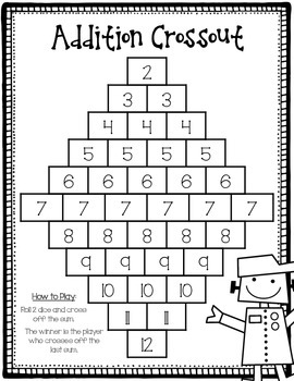 Addition Crossout: Game for Fact Fluency to 12