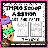 Addition Cut and Paste Freebie- Adding 3 Whole Numbers