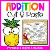 Addition to 20 Worksheets: Addition Cut and Paste Activity for Addition Facts