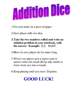 Addition Dice Directions for First Grade Math Centers Game