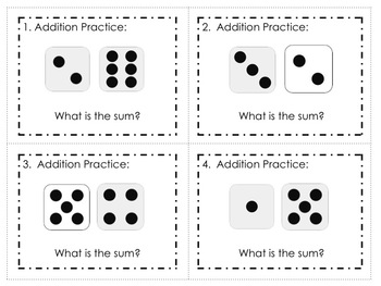 Addition Dice Facts (adding 2 and 3 numbers) Task Cards