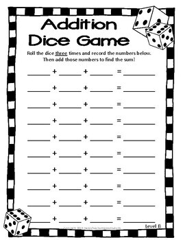 Addition Dice Game: 4 Versions - Addition Game Printable