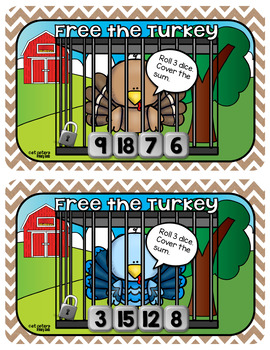 Thanksgiving Addition Dice Game ~ Turkey Rescue