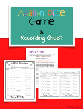 Addition Dice Game and Recording Sheet
