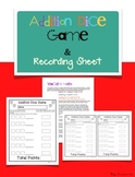 FREE Addition Dice Game and Recording Sheet