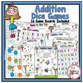 Addition Dice Games Kids Theme