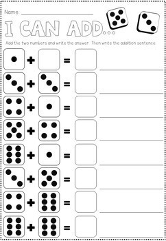 Addition Dice Worksheets