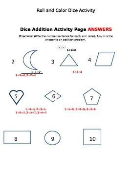 Addition Dice and Coloring Activity and Additional Materials