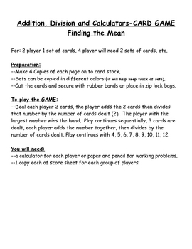 Addition, Division & Calculators-Finding the MEAN--CARD GAME