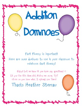 Addition Dominoes 0-12 Facts
