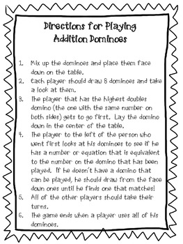 Addition Dominoes - Basic Addition Facts - 1st & 2nd Grade - Aligned to CCSS