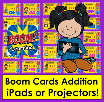 Boom Cards Math Addition Dominoes - Interactive Self-Checking Digital Task Cards