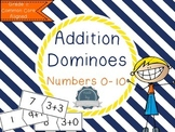 Number bonds 0 - 10. Addition dominoes. Math for Kindergarten