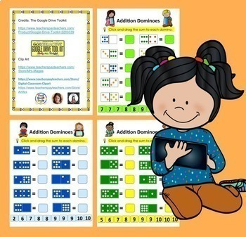 Digital Addition Dominoes to 10 - Google Kindergarten & First Grade #TptDigital