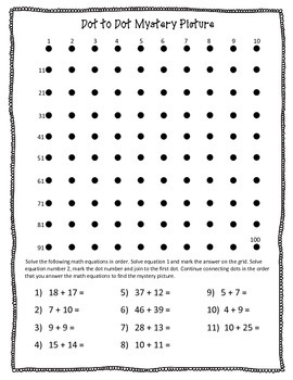 Addition Dot-to-Dot Mystery Picture Set