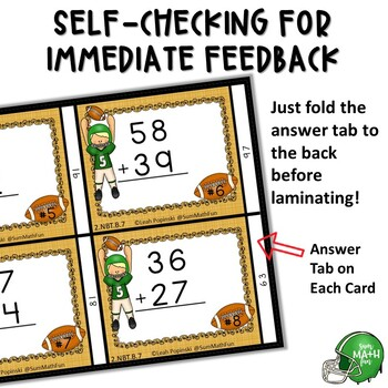 Addition Regrouping Task Cards - Football Theme Self Checking