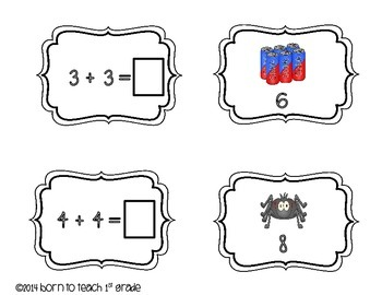 Addition Double Facts Buddy Match and Memory