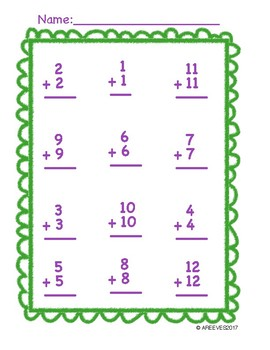 Addition Doubles Facts {1-12}