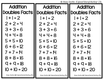 Addition Doubles Facts Bookmark Amp Making Ten Bookmark
