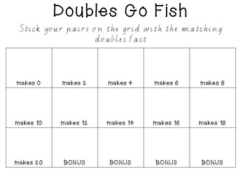 Addition Doubles Go Fish Game and Display