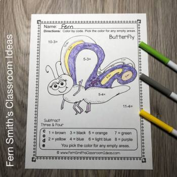 Color By Numbers Spring Bug Fun Addition Subtraction Multiplication and Division