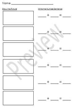 Addition Draw It & Write It Worksheet