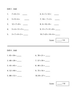 Addition Drills Worksheet | 5 Drills | 50 Questions