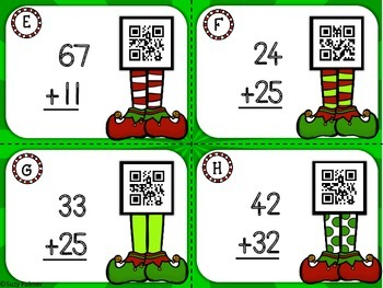 Addition Elves: Double Digit Addition (no regrouping) Task Cards with QR Codes