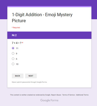 Addition Emoji Mystery Pictures Bundle - Google Forms